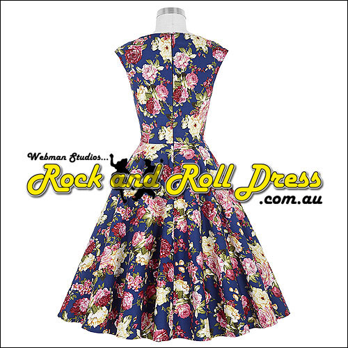 Blue pink vintage floral rock n swing dress
