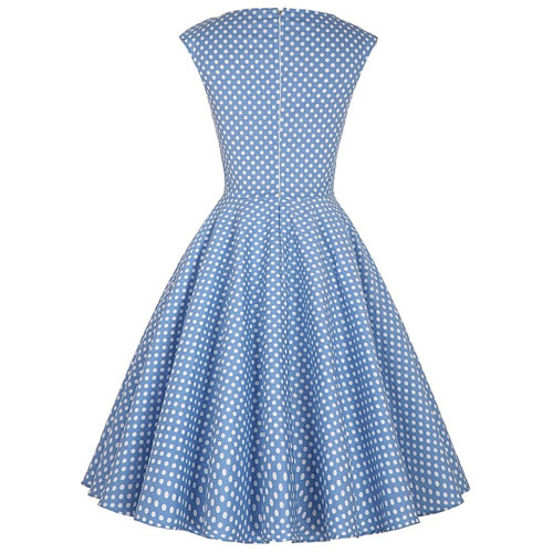 Blue white polka dot sweetheart rock and roll dress