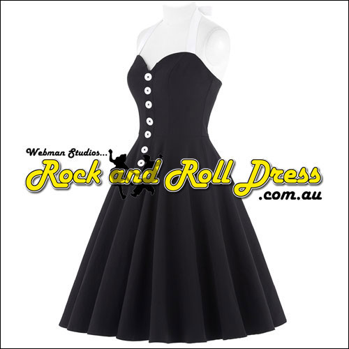 Black n white button front rock and roll dress S-XL