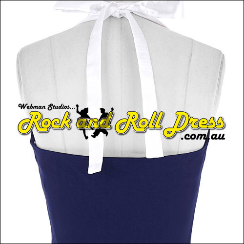 Navy white button front rock and roll dress S-XL