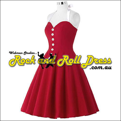Red white button-up front rock n swing dress