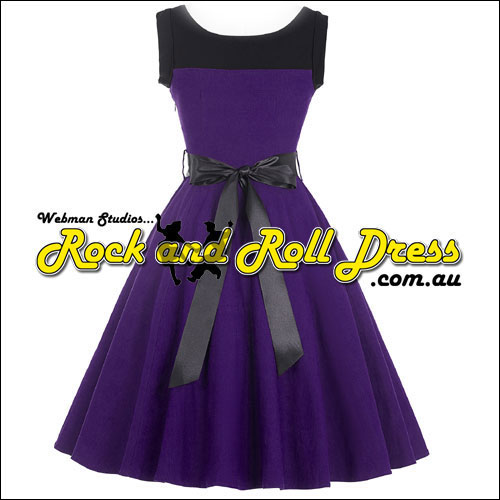 Black trim purple rock n swing dress