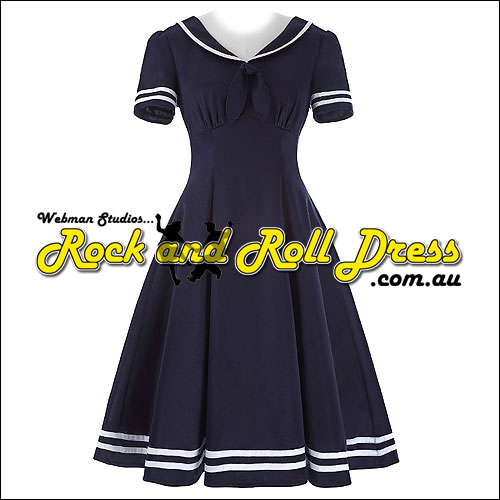 Vintage Sailor Crepe Swing Dress