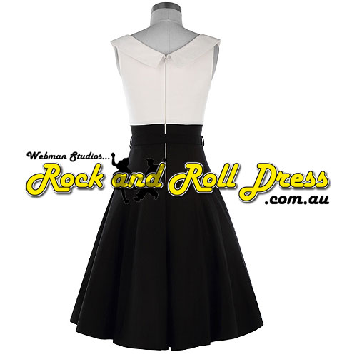 Black lapel collar retro vintage rock n roll dress S, L, XL