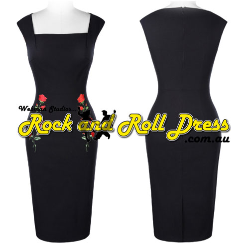 Rose Applique rock and roll rockabilly dress S-XL