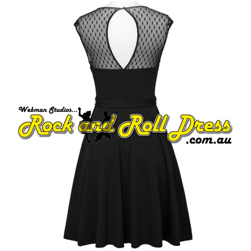 Black lace top rock and roll dress S-XL