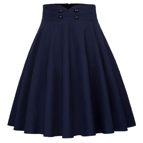 Navy high waist full circle rock and roll skirt S-XL
