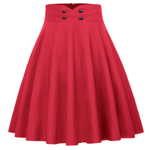 Red high waist full circle rock and roll skirt S-XL