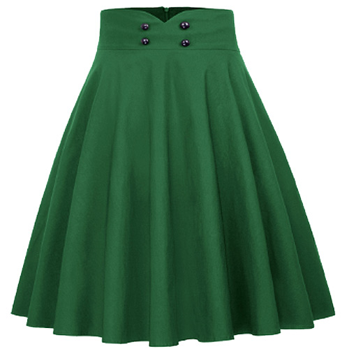 Green high waist full circle rock and roll skirt S-XL