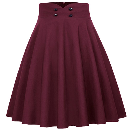 Burgundy high waist full circle rock and roll skirt S-XL - Click Image to Close