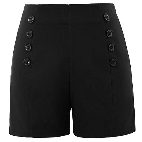 High waist black retro vintage pinup shorts S-2XL