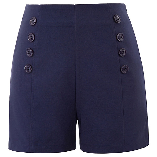 High waist navy retro vintage pinup shorts S-2XL
