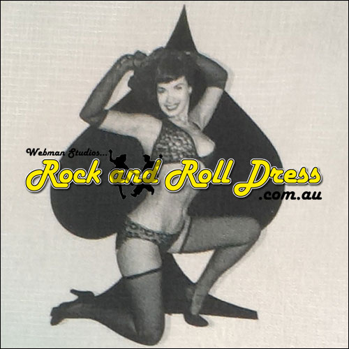 Bettie Page poker rock and roll shirt