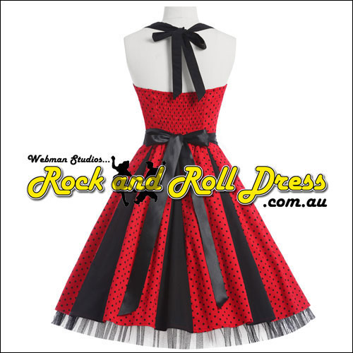 Red polka dot rock and roll dress S-XL