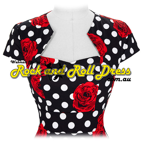 Bridgette red rose rockabilly dress S-XL
