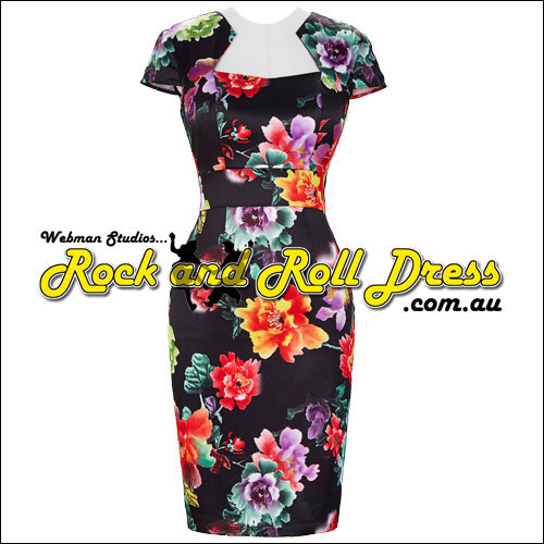 Image of Bridgette tropical retro vintage dress S-XL