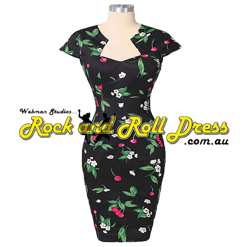 Bridgette green leaf cherry rockabilly dress S-XL