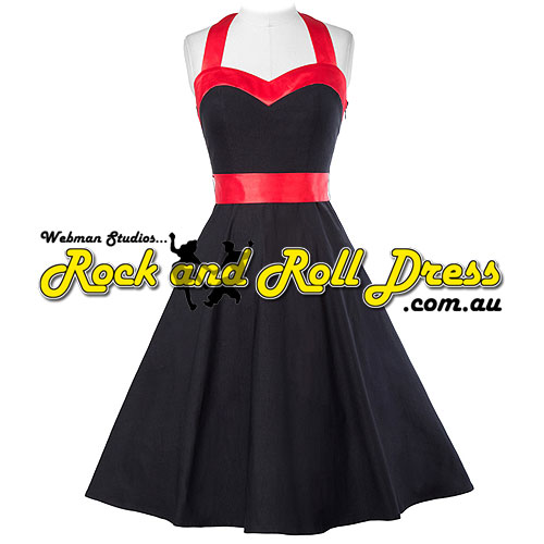 Image of Vivien black red trim retro vintage halter dress S-XL