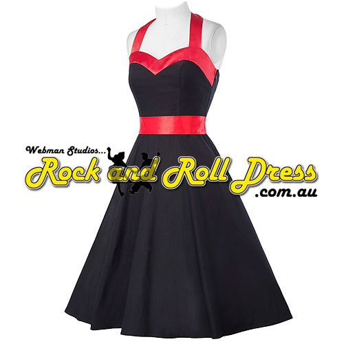 Vivien black red trim rock and roll halter dress S-XL - Click Image to Close
