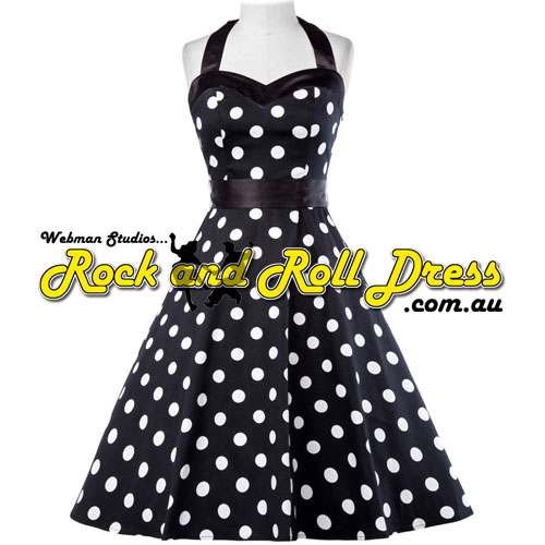 Vivien black white polka dot rock and roll halter dress XL