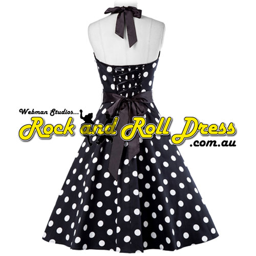 Vivien black white polka dot rock and roll halter dress L-XL - Click Image to Close