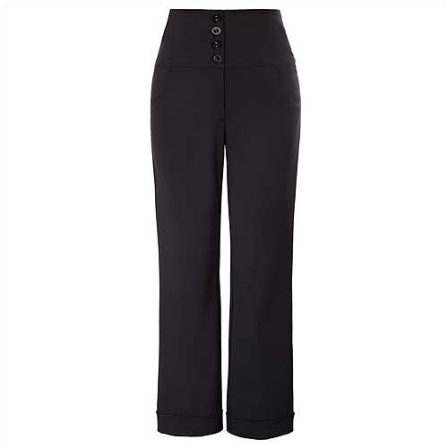 Black high waist button front ladies pants