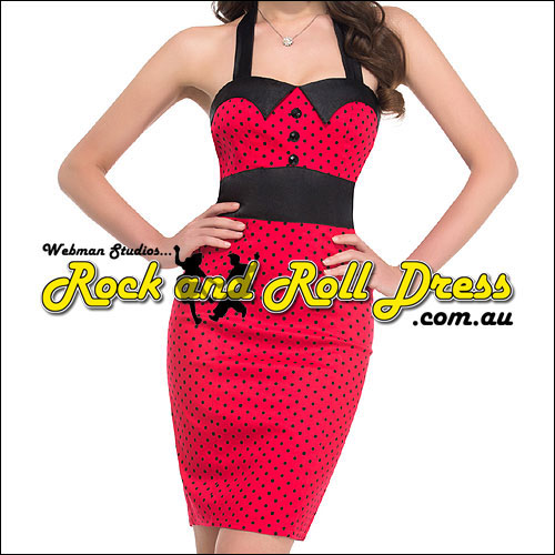 Red black polka dot rockabilly wiggle dress