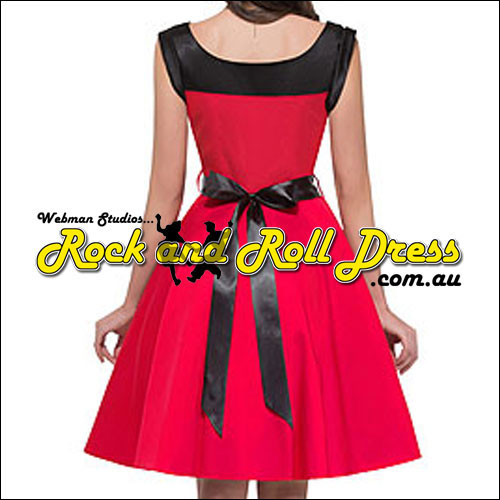Red black trim rock and roll dress L only