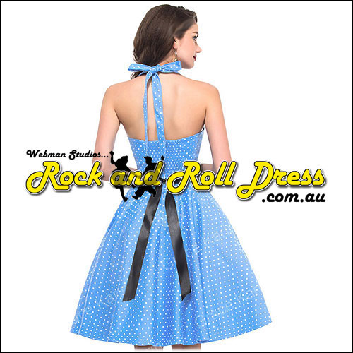 Blue with white polka dot rock and roll dress S-XL