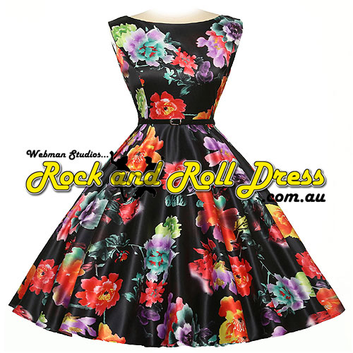 Madeleine plus size tropical floral rock and roll dress