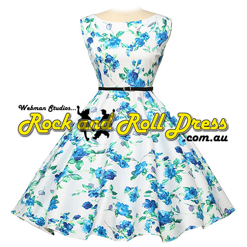 Audrey blue floral plus size rock and roll dress 1X-4X