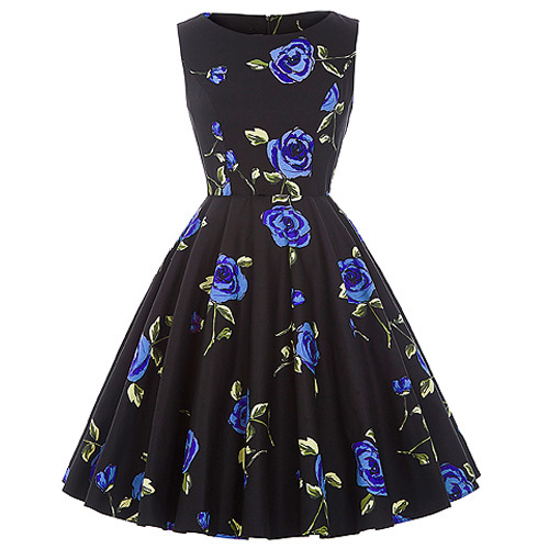 Audrey blue rose rock and roll dress S-XL