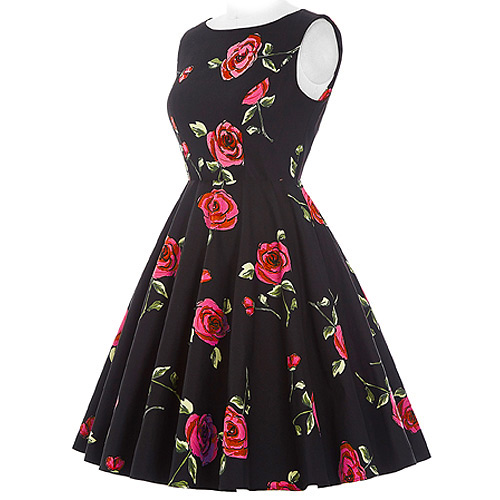 Audrey red rose rock and roll dress S-2XL