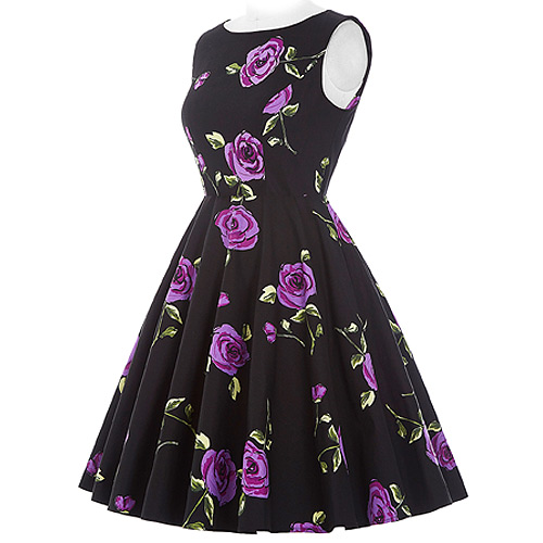 Audrey purple rose rock and roll dress S-2XL