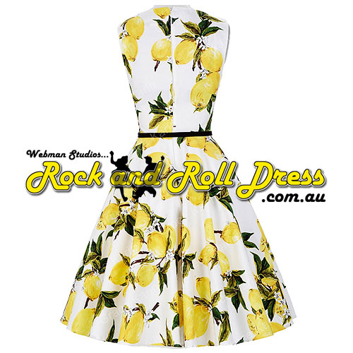 Audrey yellow floral plus size rock and roll dress 1X-4X