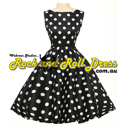 Audrey black white polka dot plus size rock and roll dress 1X-4X