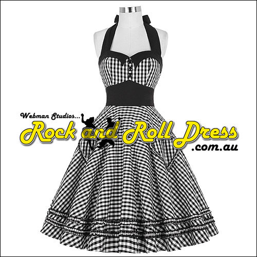 Black gingham rock and roll dress size S to 3XL