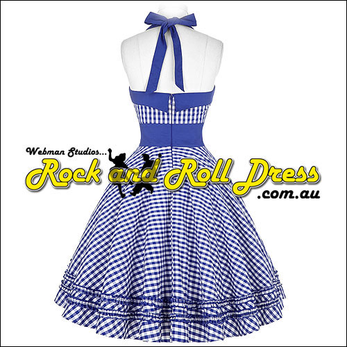 Blue gingham rock and roll dress S-XL