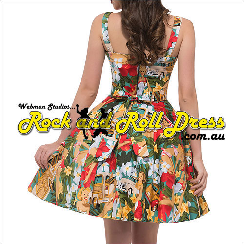Pinup paradise knee length rock and roll dress S-XL