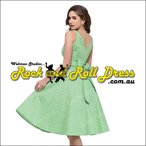 Green white polka dot vintage style dress