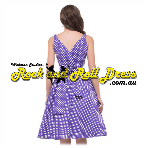 Purple white polka dot rock and roll dress L only!