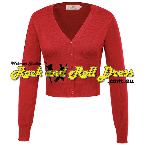 Red nine point v-neck cardigan S-4XL