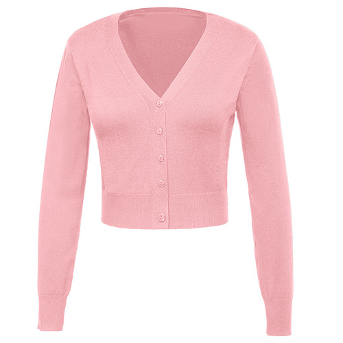 Pink nine point v-neck cardigan S-3XL