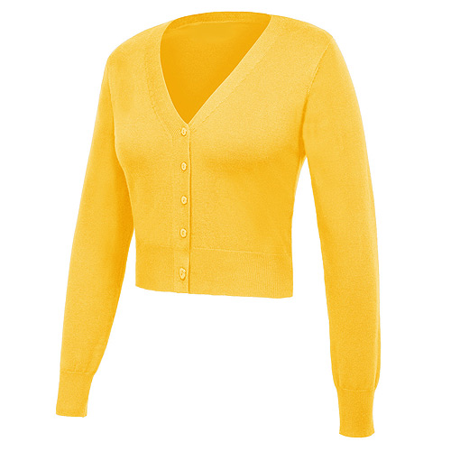 Yellow nine point v-neck cardigan S-3XL
