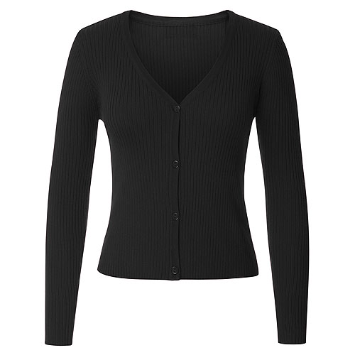 Black ribbed knitted cardigan S - 2XL