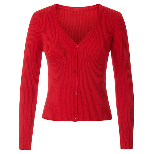 Red ribbed knitted cardigan S - 2XL