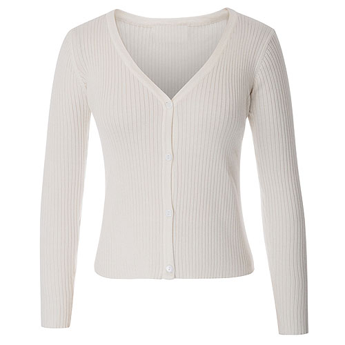 Ivory ribbed knitted cardigan S - 2XL