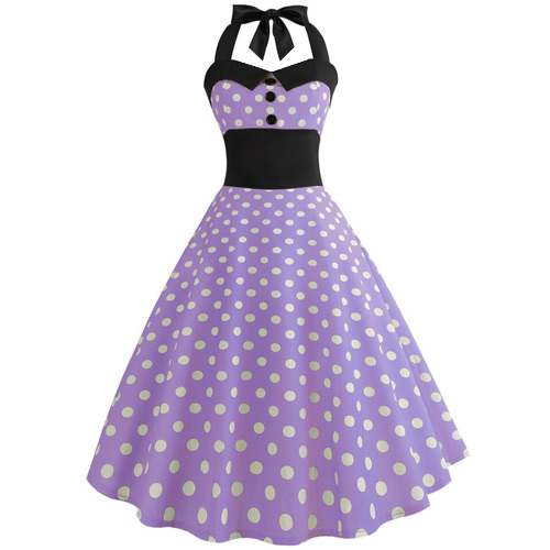 Purple white polka dot rock and roll dress