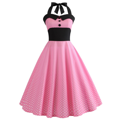 Pink white polka dot rock and roll dress