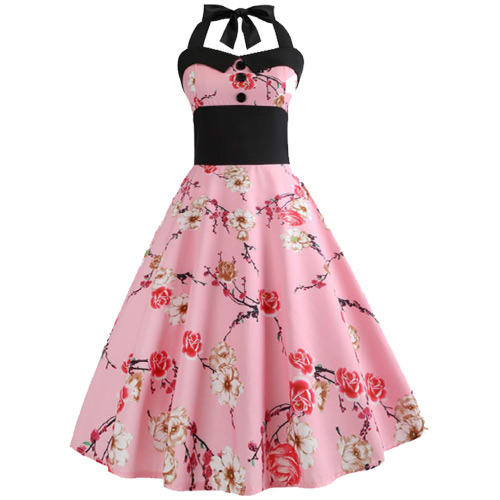 Pink floral rock and roll dress